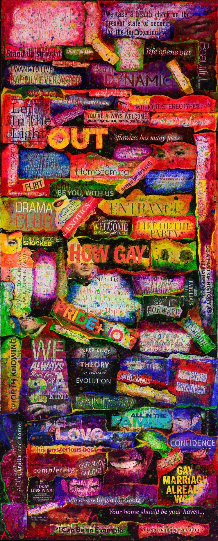 """PRIDE  mixed media on canvas with acrylic and paper  16""""x40""""  limited edition prints also available"""