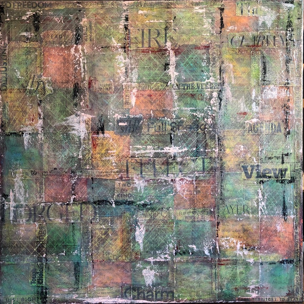 """BOUND IN PINK LIGHT  mixed media on canvas with acrylic and paper  24""""x24"""""""