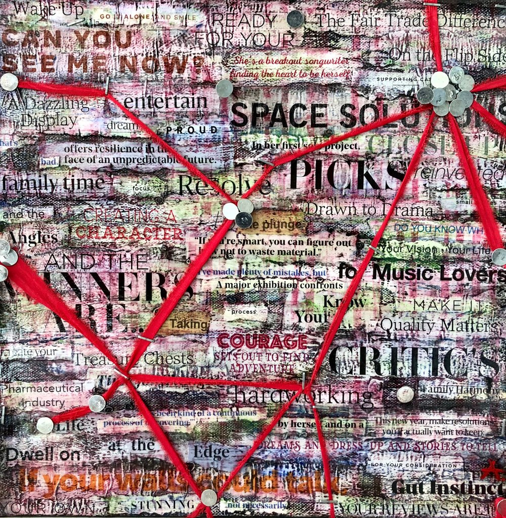 """CHARACTER  mixed media on canvas with acrylic, paper, silk, nails and staples  12""""x12""""  sold"""