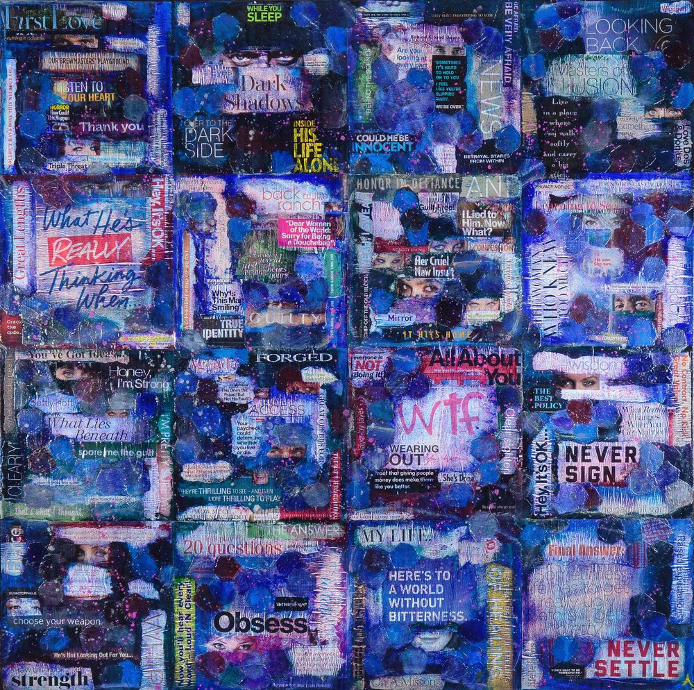 """CHAPTERS  mixed media on canvas with paper, acrylic and vintage quilt fabric  48""""x48"""""""