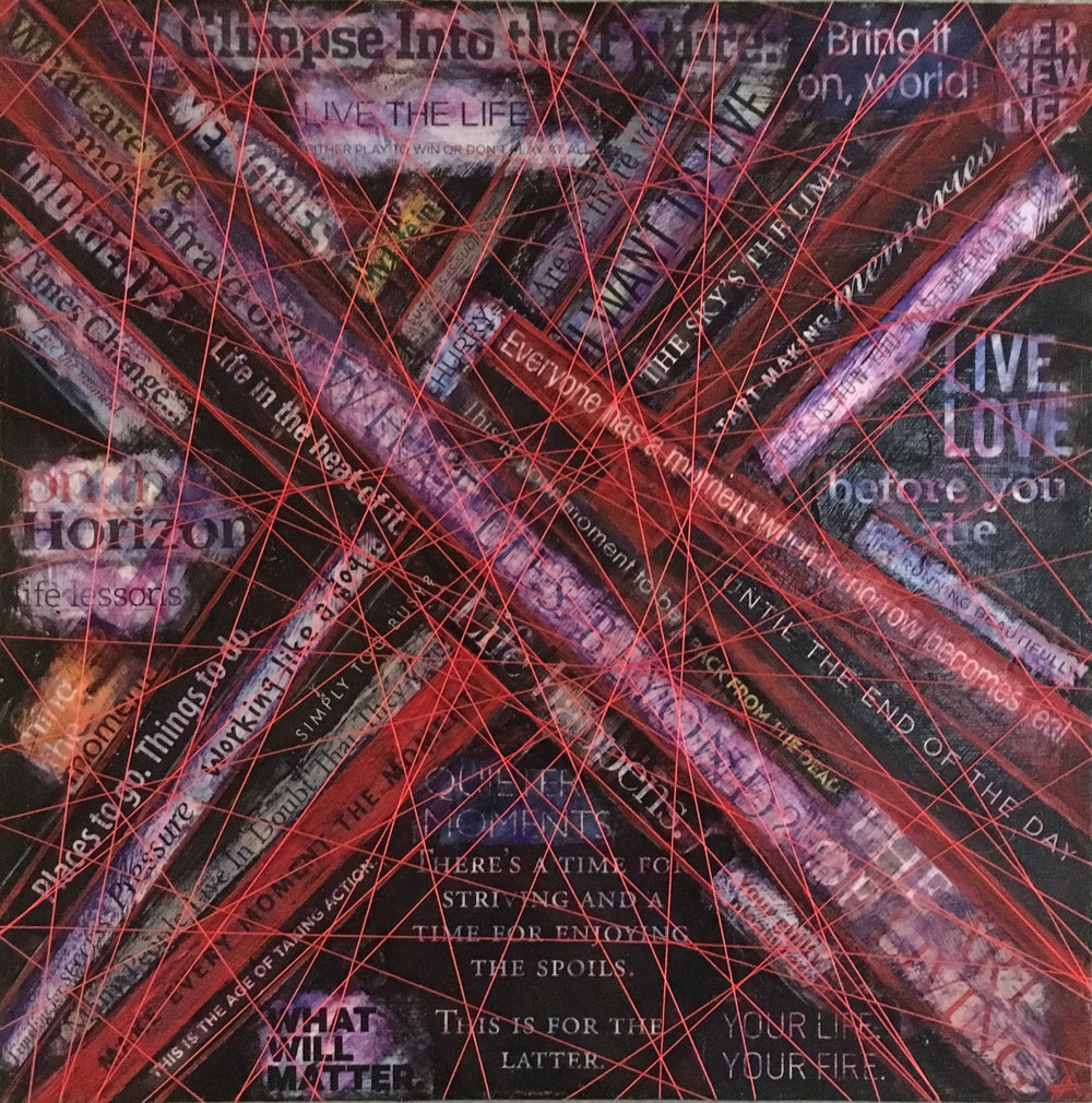 """LIFELINES  mixed media on canvas with acrylic, paper and embroidery string  16""""x16""""  Holland Project Group Exhibition  sold"""