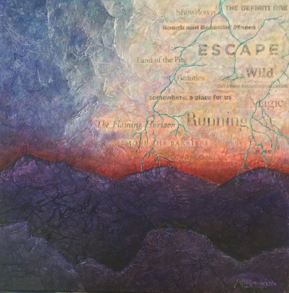"""RESCUE ME  mixed media on canvas with acrylic and paper  24""""x24""""  Donated - Let 'Em Run Fundraiser"""