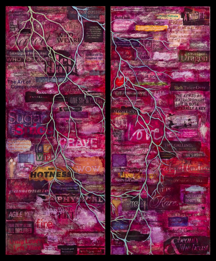 """LUST TO LOVE: A TRUE LOVE STORY  mixed media diptych on canvas with acrylic and paper  40""""x36""""  sold  limited edition prints available"""
