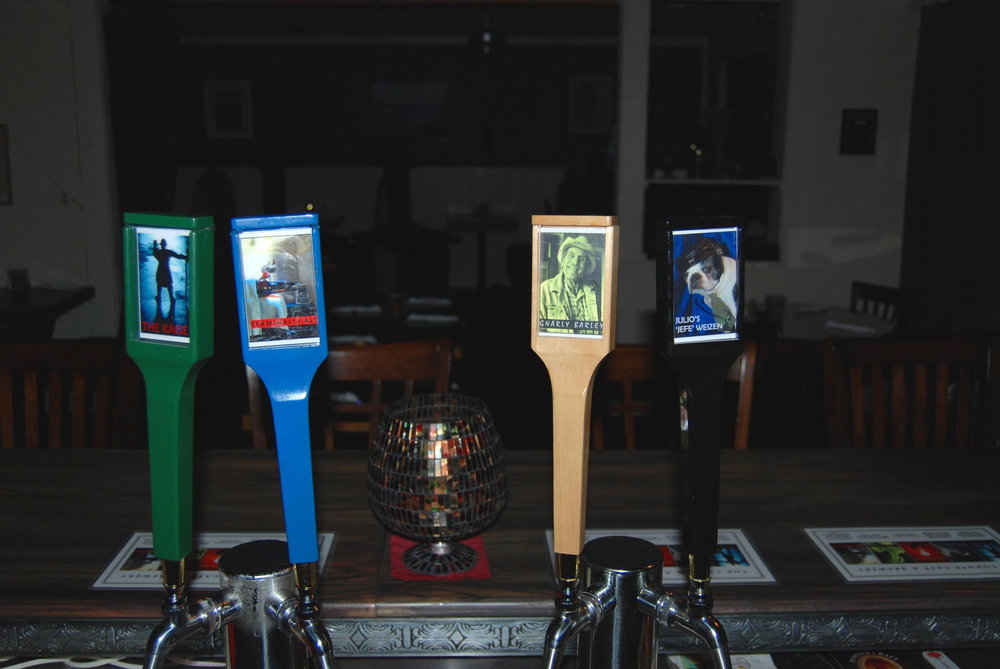 Corner Cafe and Brewery beer logo designs and custom built and hand painted-stained bar