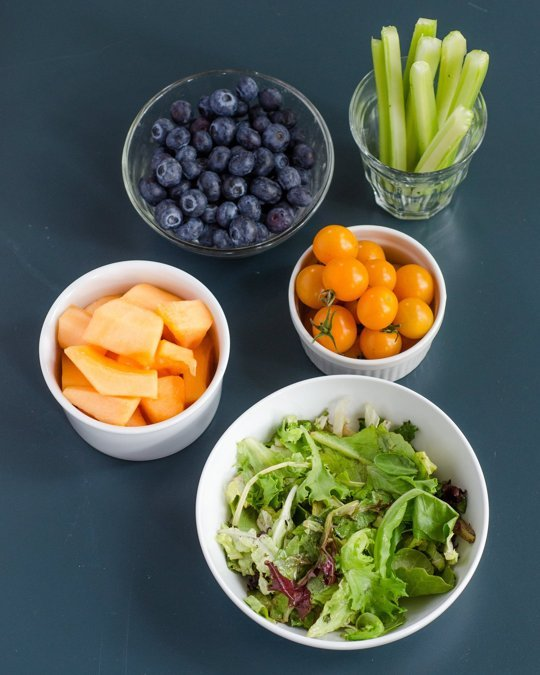 Fruit:  1 cup cantaloupe, 1 cup blueberries   Vegetables:  2 cups salad greens, 1 cup cherry tomatoes, 1 stalk celery