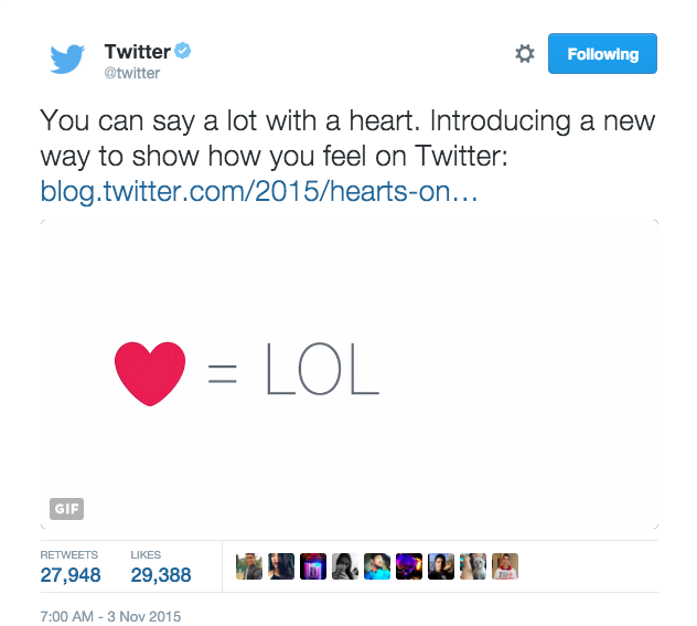 On November 3rd, Twitter switched stars to hearts. The Tweet would never be the same.