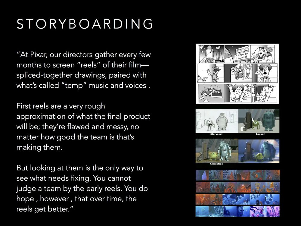 Movies constantly use MVPs, in the form of storyboards. Early on they're sketched, then using rough computer models, then colorized, etc. At each stage you do the least amount of work to have a good discussion about it.