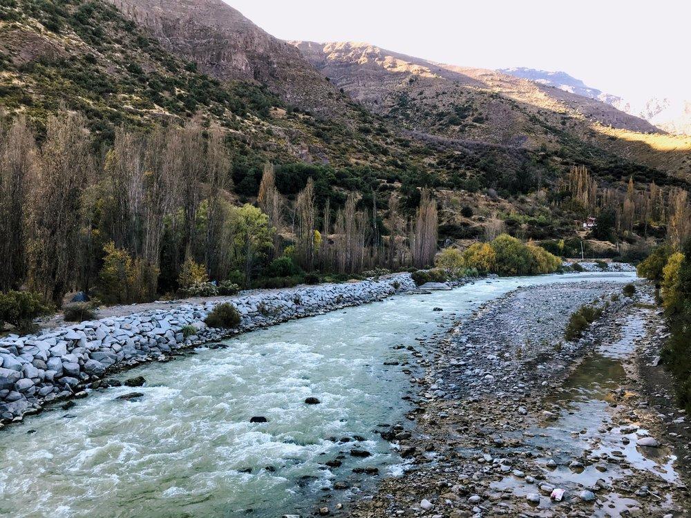 The Maipo River that helps make up the Cajon del Maipo
