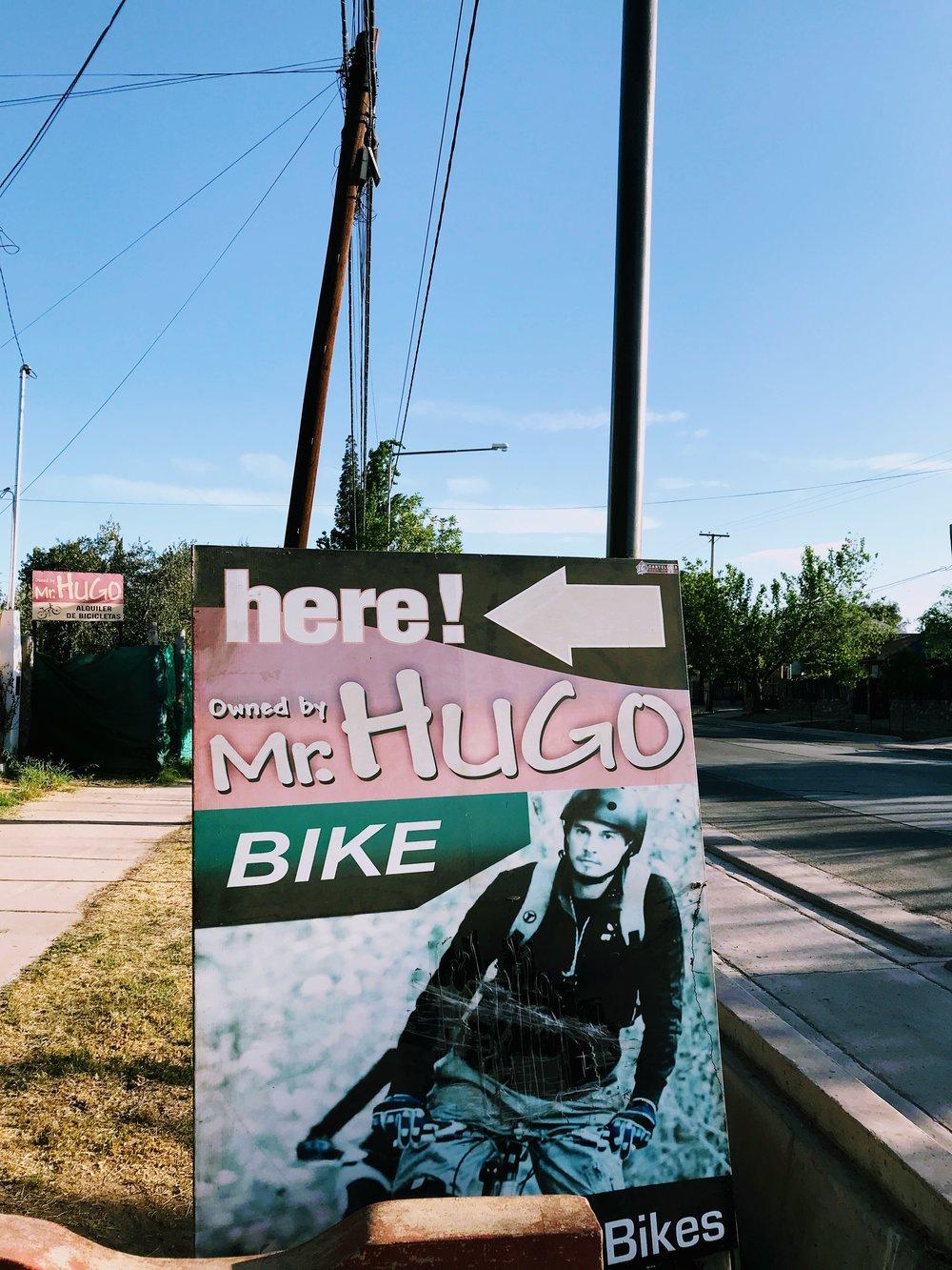 Mr Hugo's bike shop in Mendoza