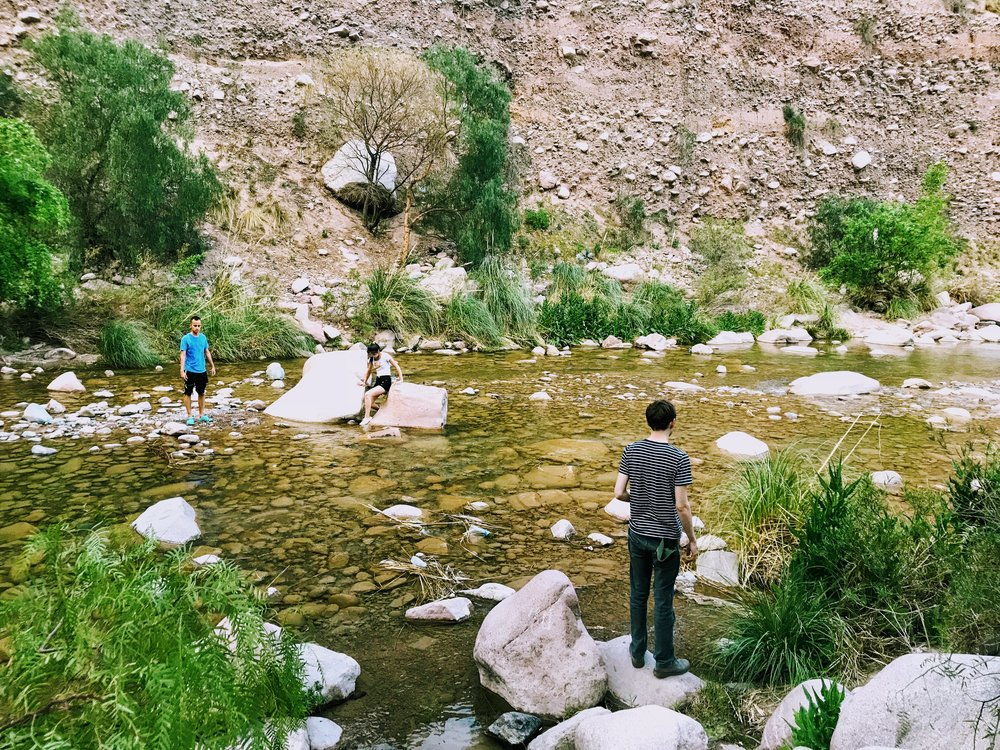 Swimming in the water in Cacheuta