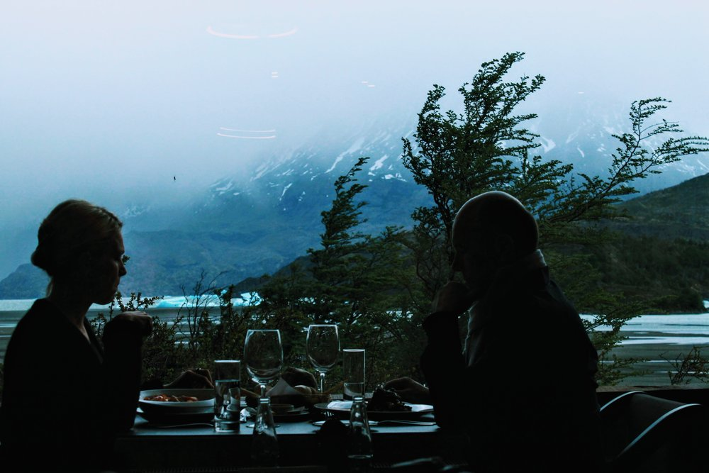 Views at the restaurant at Hotel Grey in Torres del Paine National Park
