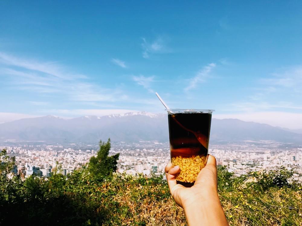 Mote con Huesillo drink in Santiago Chile
