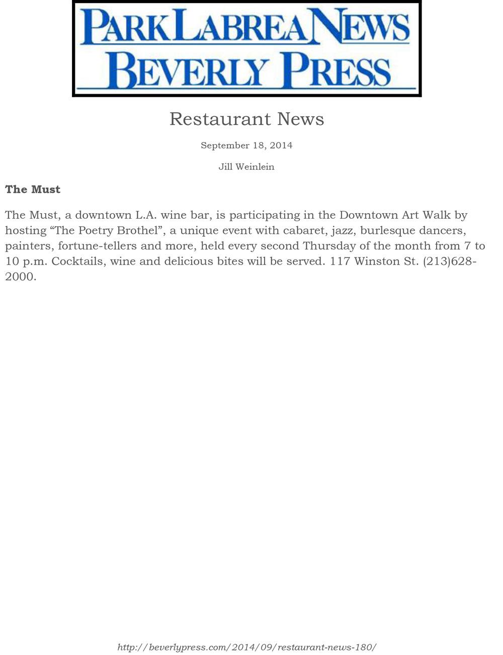 ParkLaBreaNewsBevPress - TheMust - 9.18.14.jpg