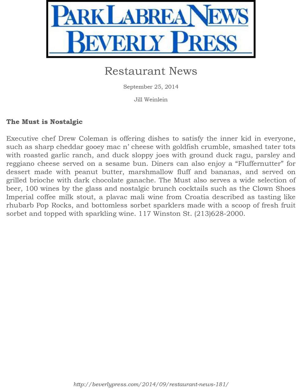 ParkLaBreaNewsBevPress - 9.25.14.jpg