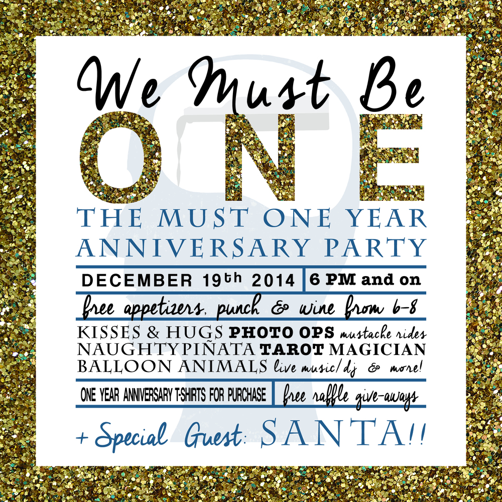 Join us Friday, December 19th for our One Year Anniversary Party! Free appetizers, punch and wine from 6-8. All night long indulge in Kisses & Hugs, Photos Ops, Mustache Rides, Naughty Piñata, Tarot, Magician, Balloon Animals, Live Music/DJ + Special Guest SANTA!!! Click HERE to make a reservation.