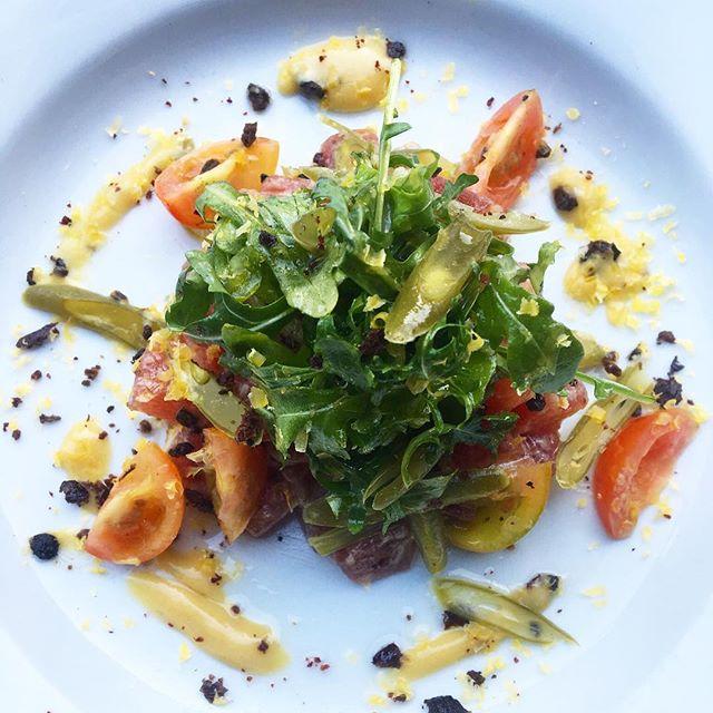 It's like Coachella for your mouth. Ahi niscois tartar, pickled green beans, dehydrated olives, salt cured egg yoke, cherry tomatoes, potato crisps, Dijon vinagarette.... Special tonight. #eatlocal #dtlaartsdistrict #dtla #bar #foodporn #foodlovers #weekend