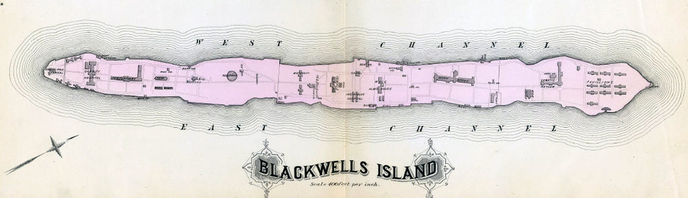 Map of Blackwell's Island showing location of Smallpox Hospital on southernmost tip of island