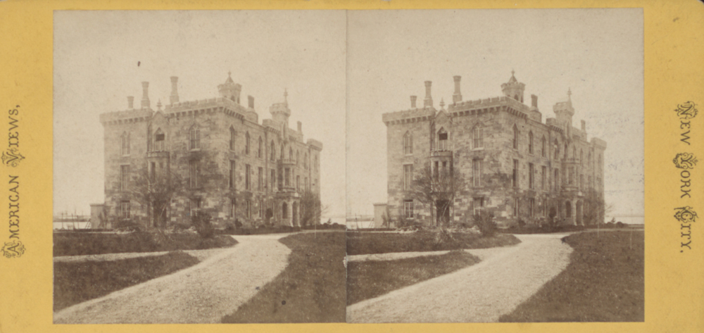 Stereoscopic photograph of the Smallpox Hospital, original footprint was 104 feet by 45 feet and three stories in height