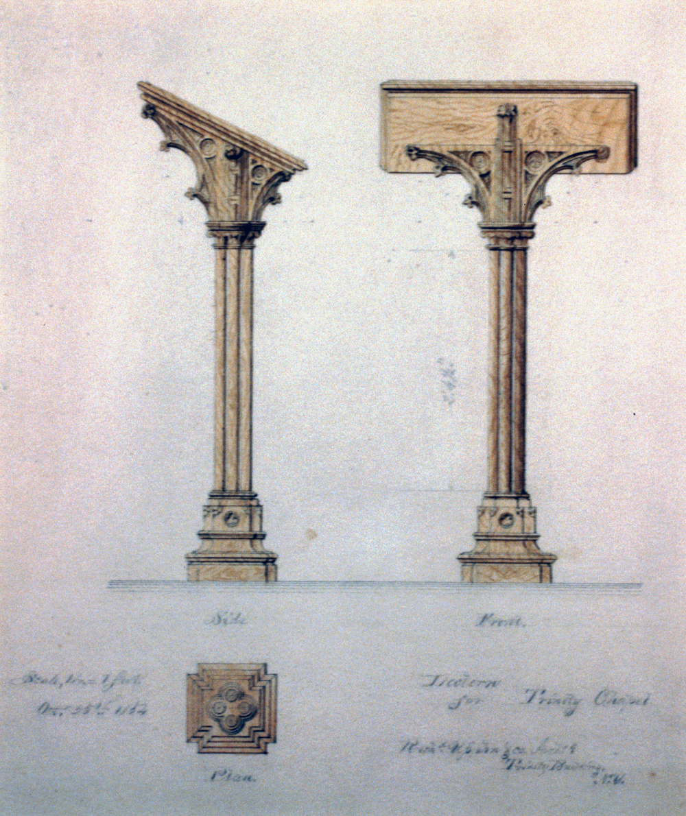 Architectural plan and elevations of the original church podium, Library of Congress