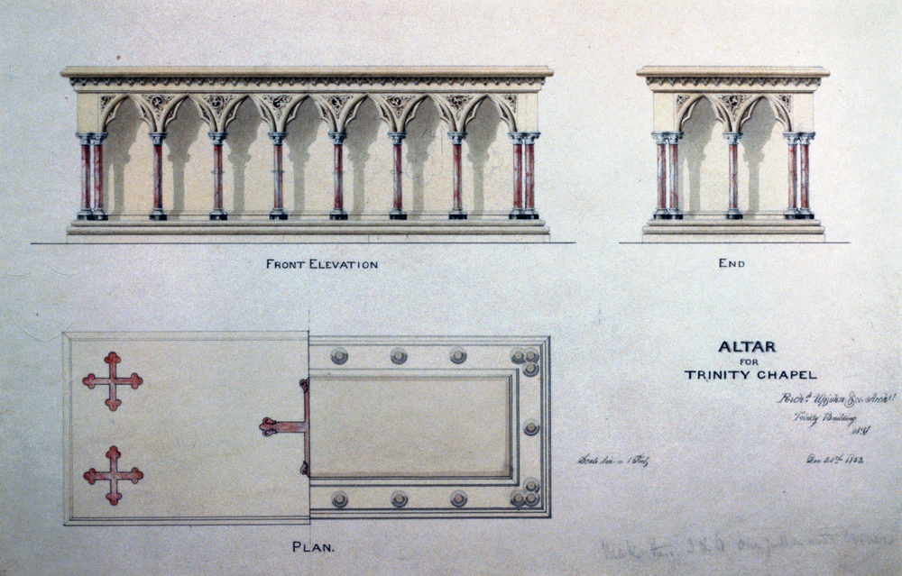 Floor plan and elevations of the church altar, Library of Congress