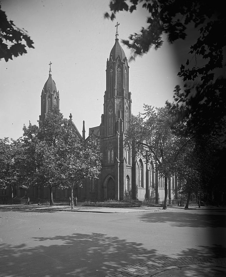 The Trinity Episcopal Church had two large spires marking its main façade, Library of Congress