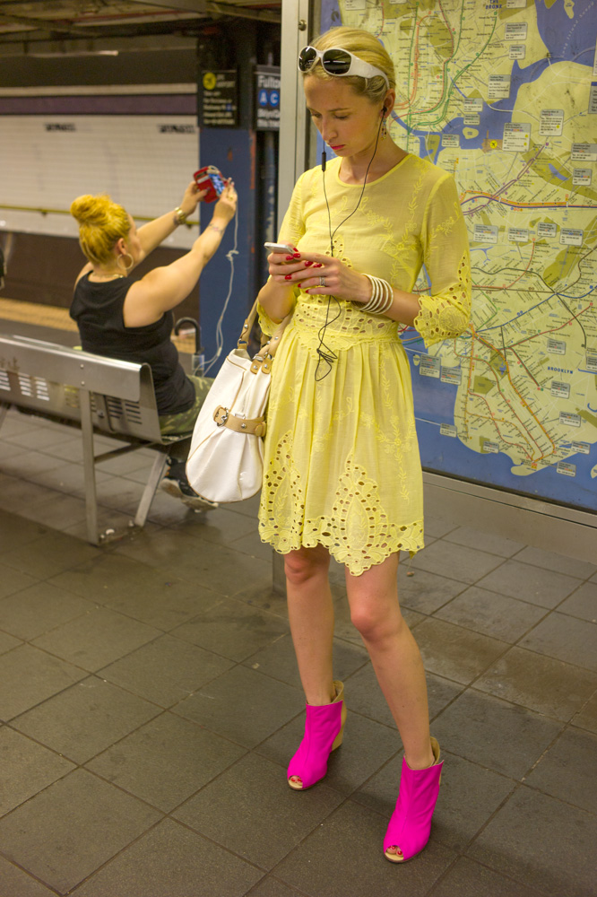 Pink Boots, Fulton Street Station, New York 2013