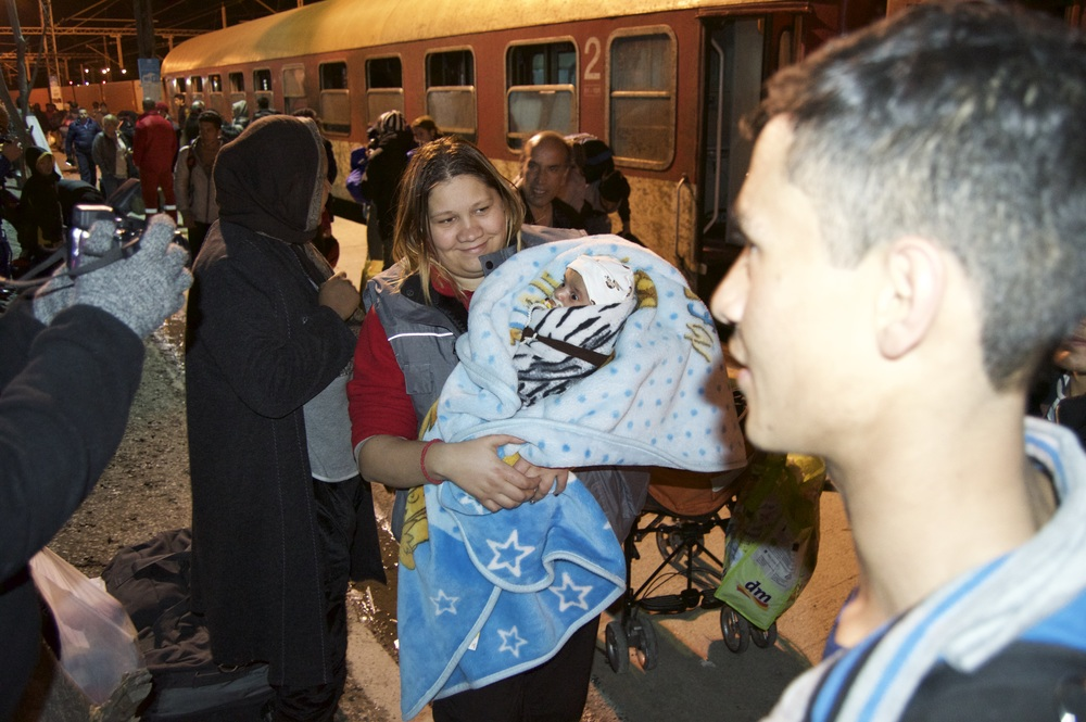 A woman with a week-old baby born along the journey.