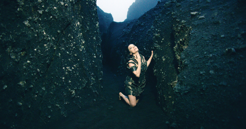 "Still from Björk's music video "" Black Lake ,"" commissioned by MoMA."
