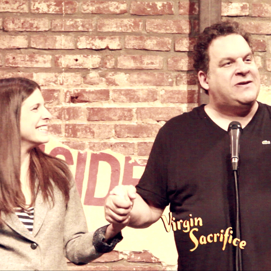 Jeff Garlin thanks Nicole for organizing a wonderful show for his friend (and Virgin), Jen Candy.