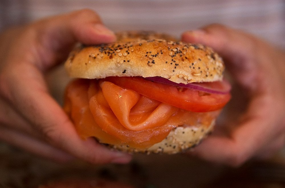 Salmon bagel, Russ and Daughters - Monica R. Goya