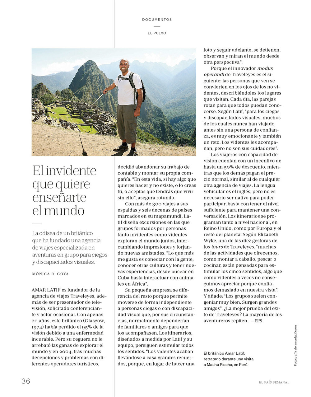 Amar Latif of Traveleyes - El País Semanal 23/09/2017 - Words