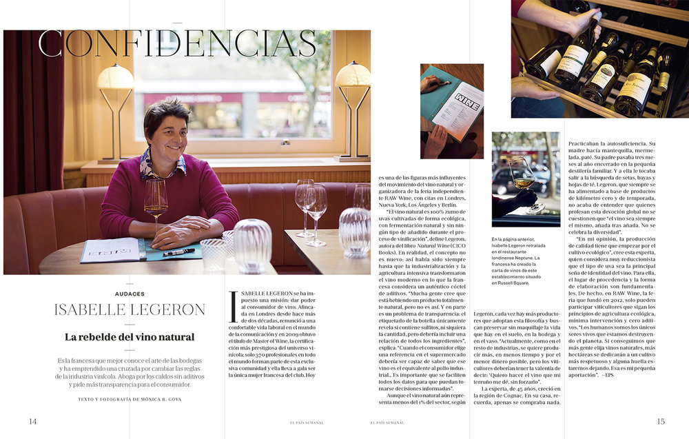 Interview with Isabelle Legeron MW – El País Semanal 03/06/2018 – Writing & Photography