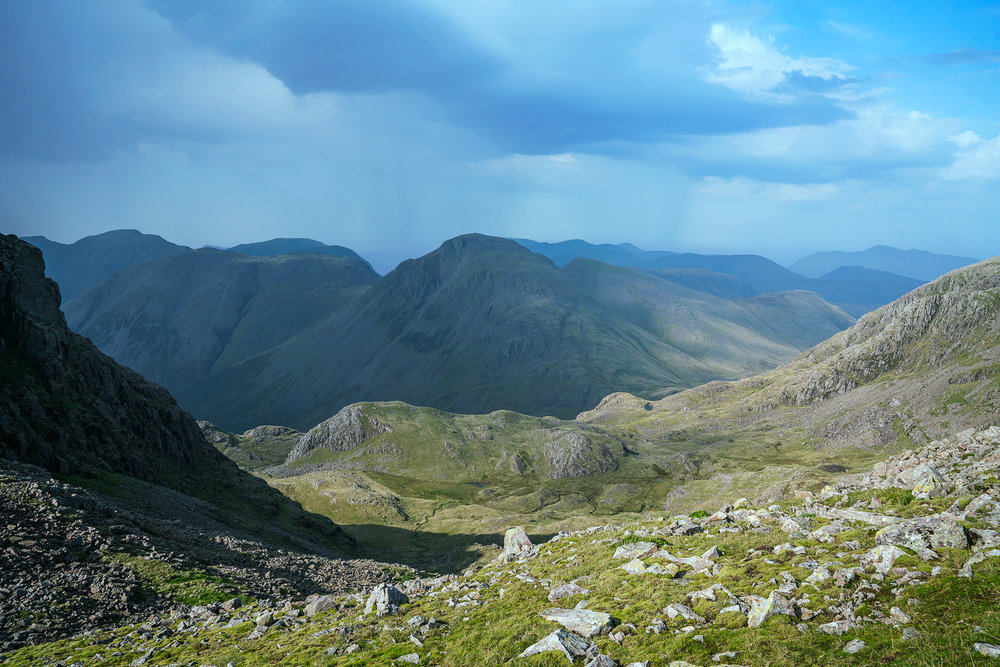The view from near Great End towards Great Gable and Kirk Fell.