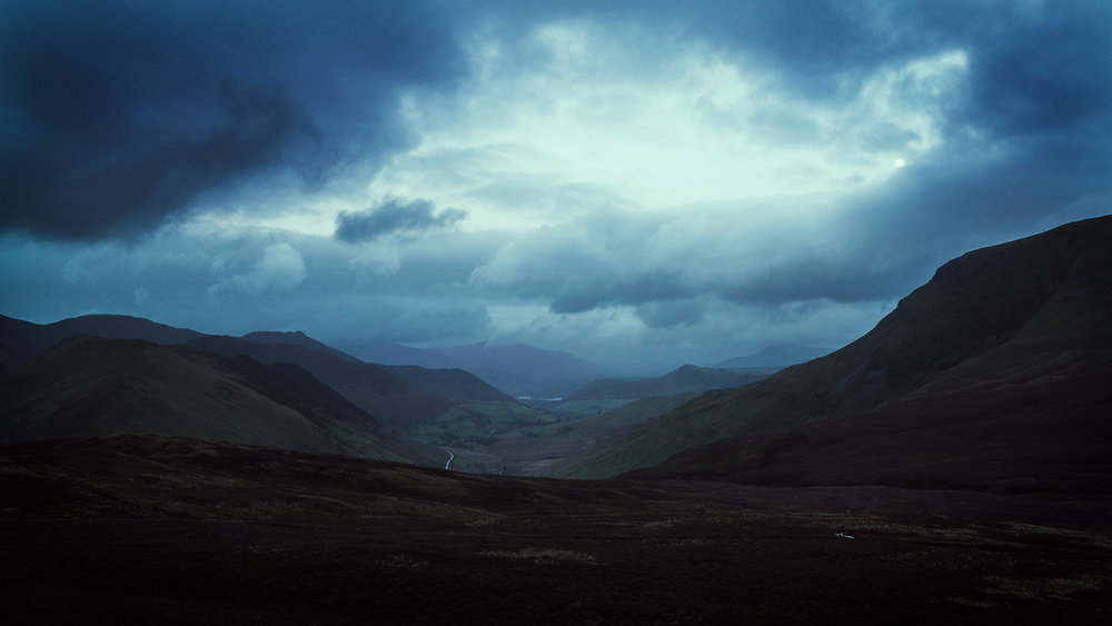 The Newlands Valley on a gloomy night.