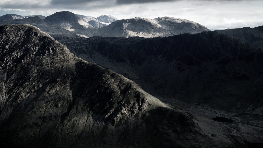 Fleetwith Pike, Great Gable, Haystacks, Kirk Fell and Scafell - a veritable feast of Lakeland peaks.