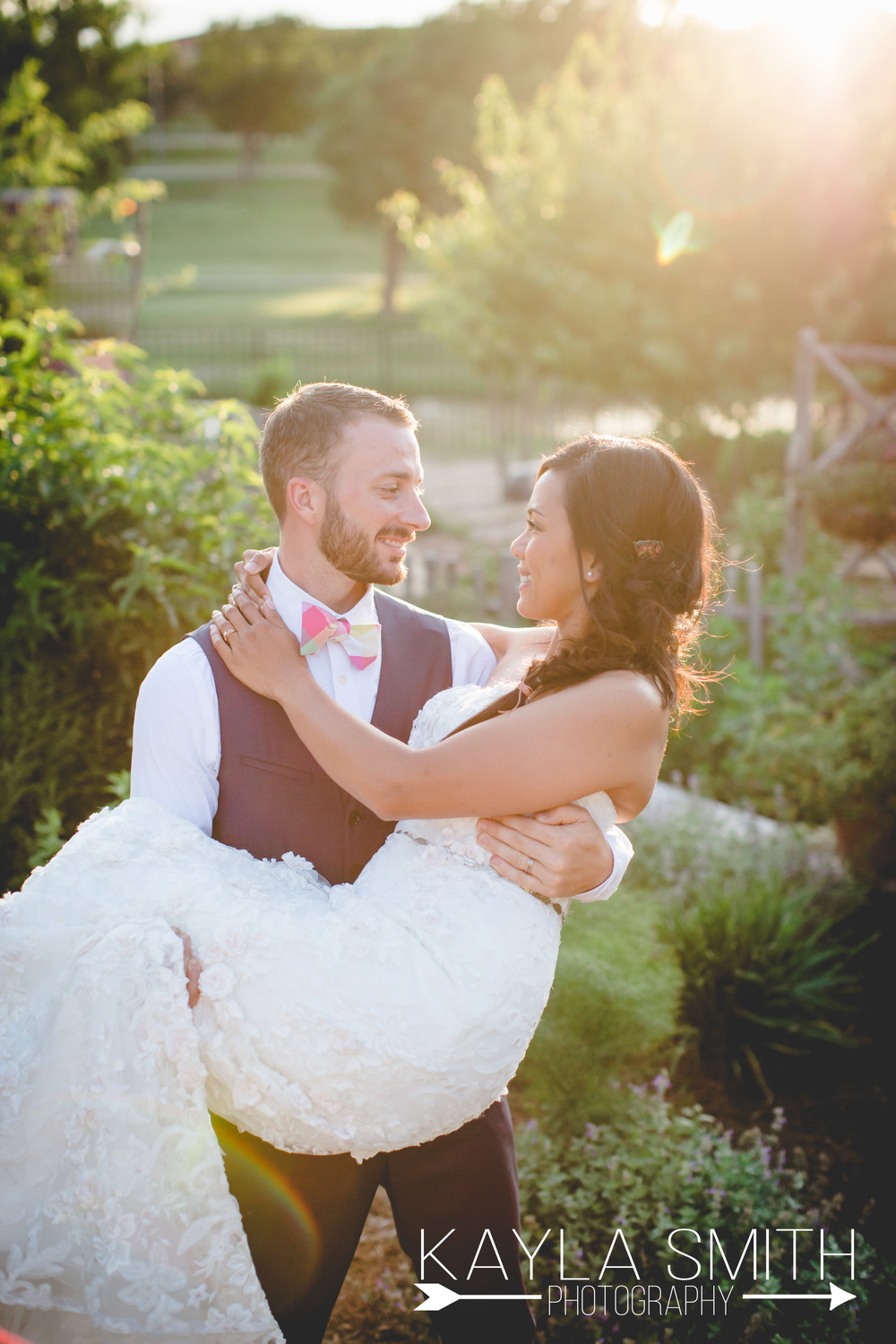 An Amarillo Botanical Garden wedding in the Golden Hour. Perfection.