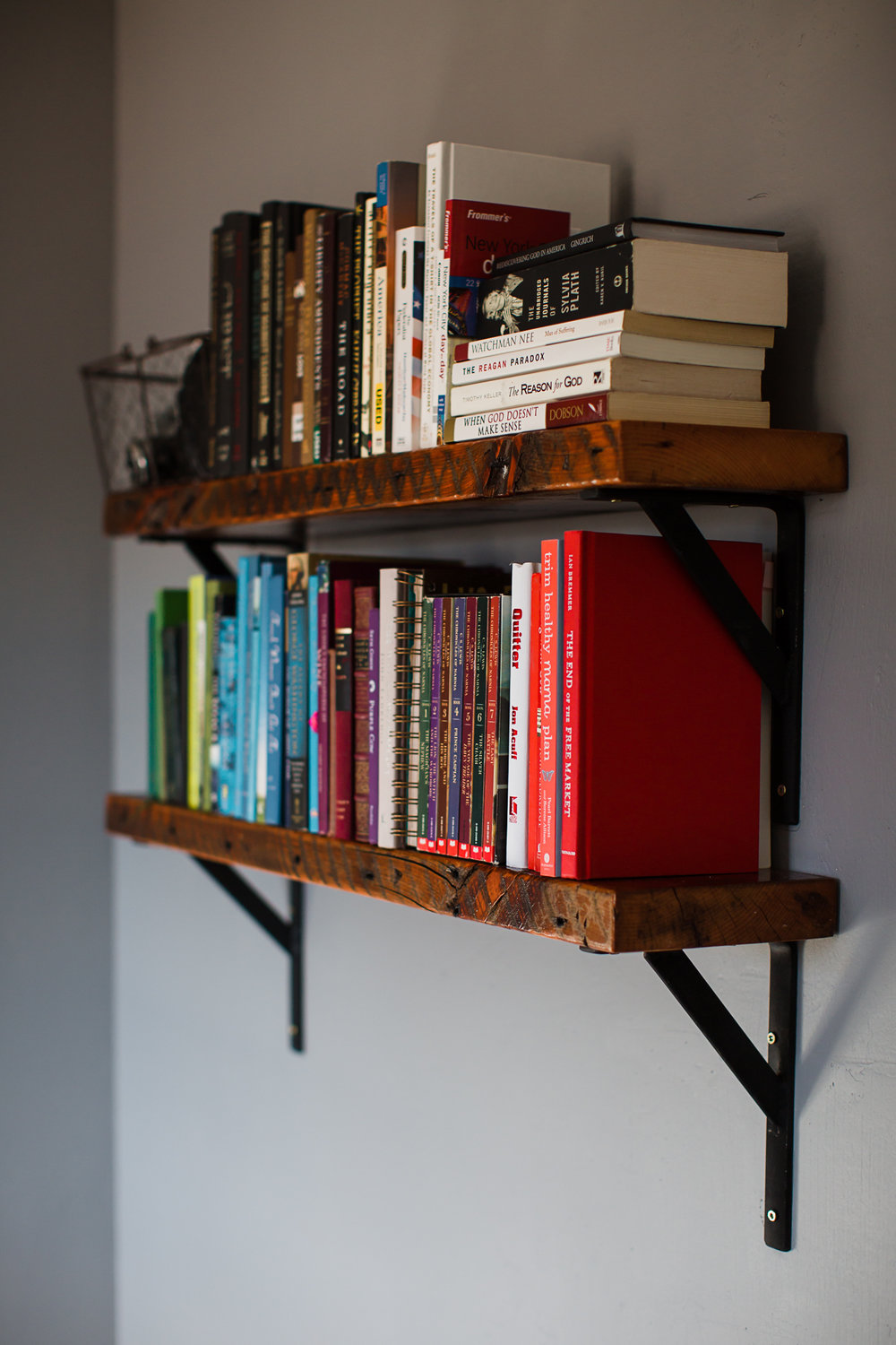 My dad also built these rustic shelves. They are made from reclaimed wood out of a barn that he tore down when I was a kid.