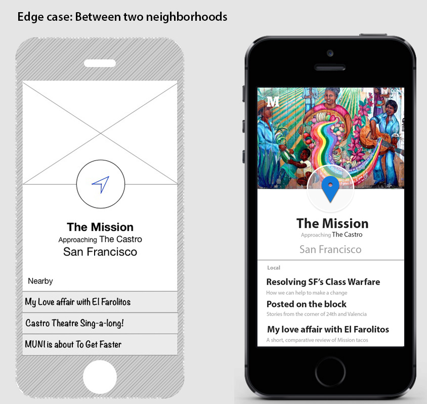 Wireframe and high fidelity mock up. Users will see that they are approaching a new neighborhood and receive some 'Nearby' articles from that neighborhood.