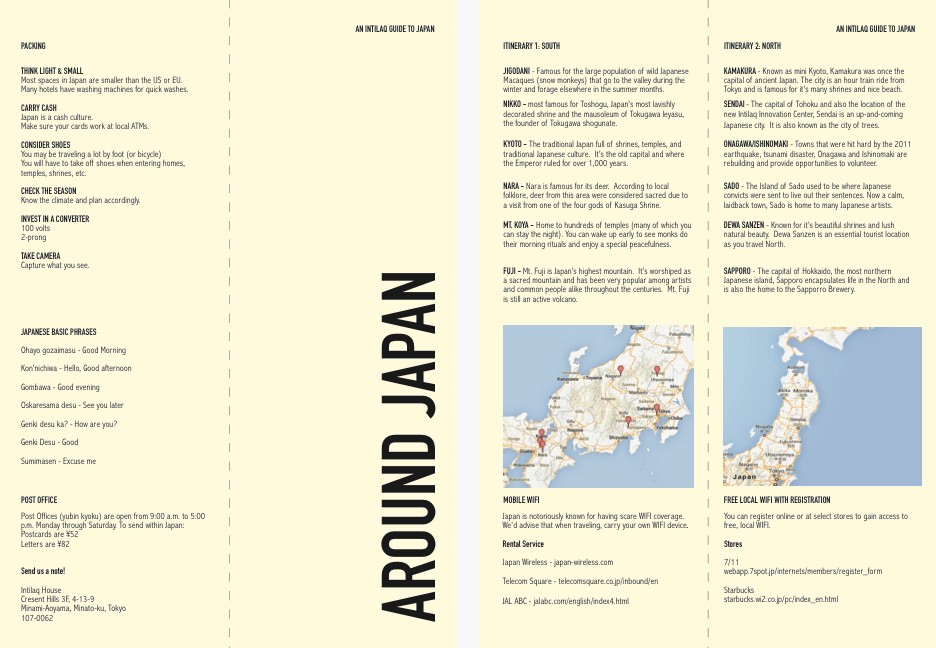 Folded Japan Guide back, front, & inside printed on size A4