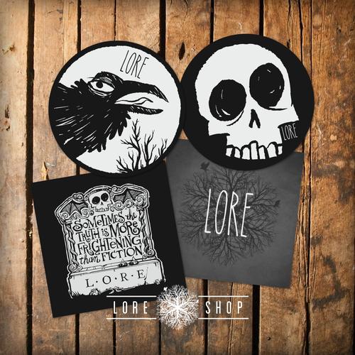 Sticker 4 pack raven skull