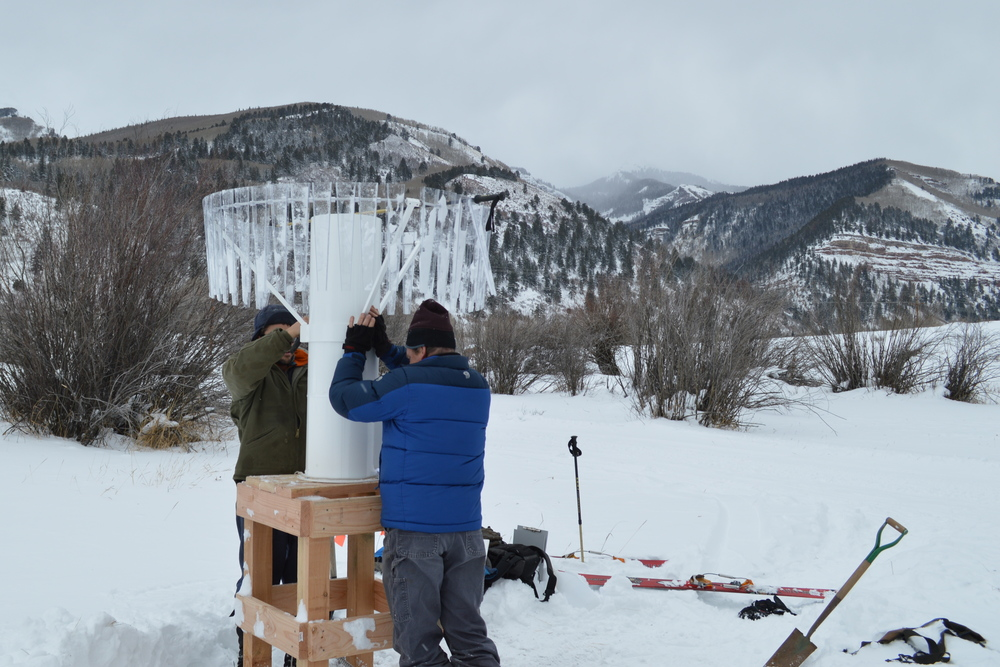 Installing a Climate Station in the TVF, Winter 2014. Photo: Aaron Kimple