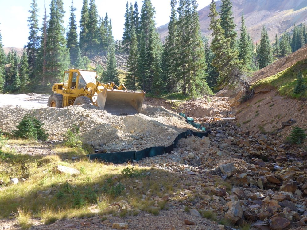 Vernon Mine, Gray Copper Gulch, Main waste rock pile during removal, Sept 2015