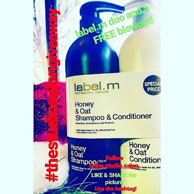 It's the last day to enter our holiday giveaway!  Follow our Instagram and screenshot this photo and post it with the hashtag #thestudiosalongiveaway for a chance to win a liter duo of @labelmusa honey&oat shampoo and conditioner and a FREE blowout!  #keepitlocalcle #ohiocity #clehair #cleveland #explorecleveland #216 #clevelandgiveaway #thestudio #labelm #cle #christmas