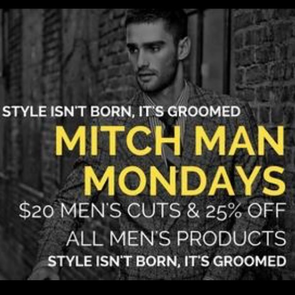Stop in for all your styling needs on Mitch Monday's! 25% off all Mitch Products and $5 off men's cuts! We are open 12pm-8pm! #menscuts #cleveland #ohiocity #keepitlocalcle #clehair #clegram #explorecle #mensfashion #menshair #ohiocitysalon