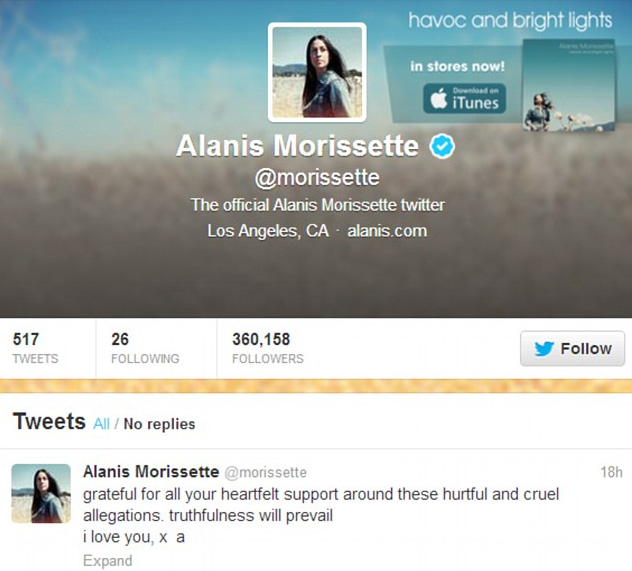 Alanis Morissette's Twitter Page
