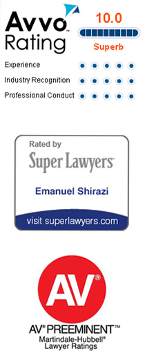 Shirazi Law Firm has a superb rating at AVVO, is rated by Super Lawyers and has an AV preeminent Martindale-Hubbel Lawyer rating