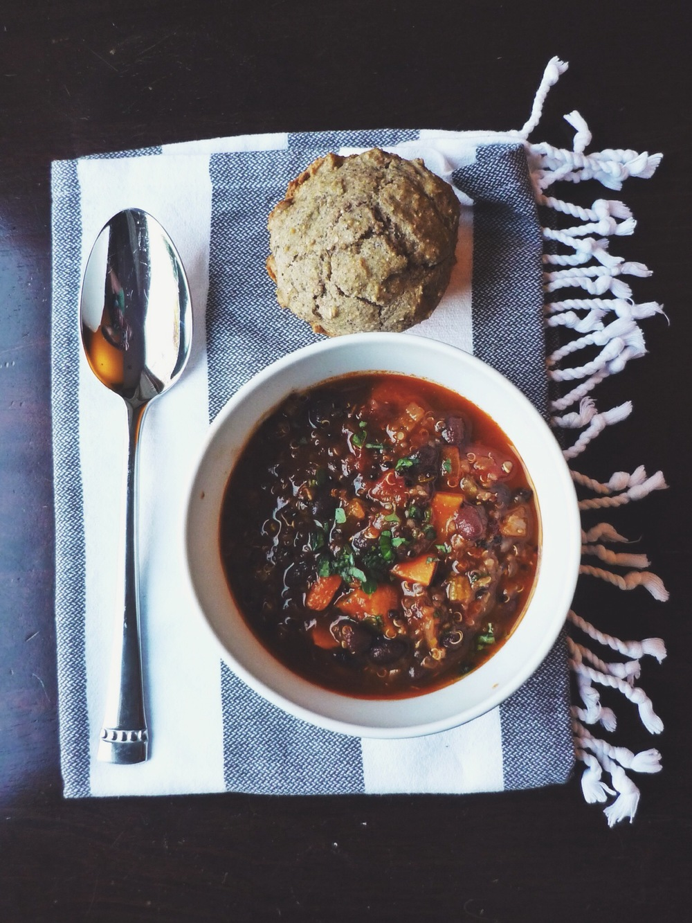 a bowl of sweet potato black bean chili