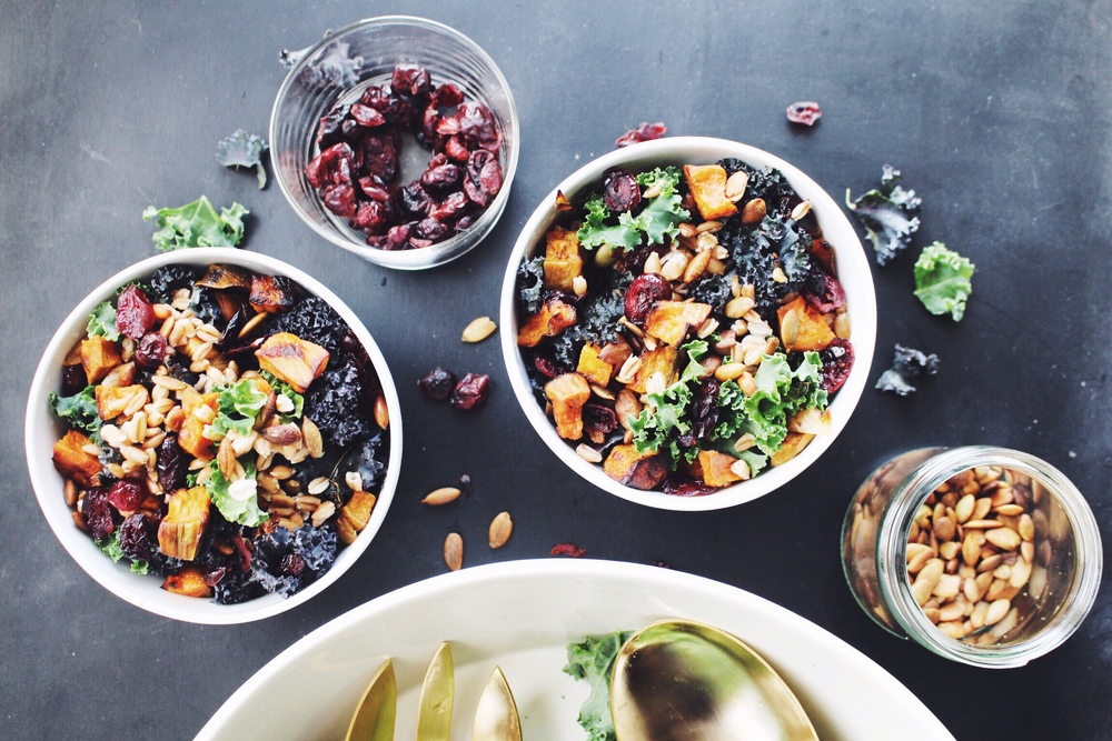 All of It - Roasted Sweet Potato Farro and Kale Salad with Warm Cinnamon Honey Dressing