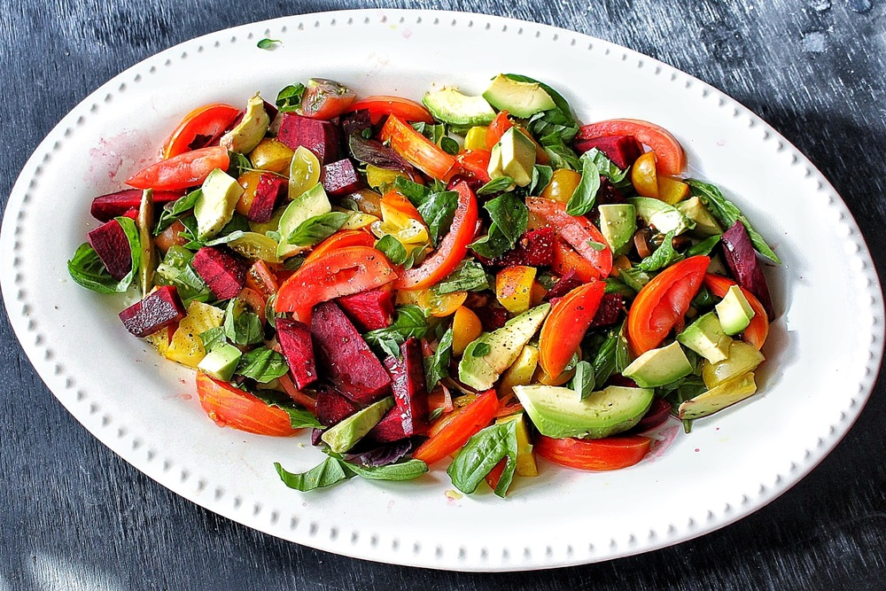 All of It - Heirloom Tomato Beet Avocado Herb Cold Summer Salad