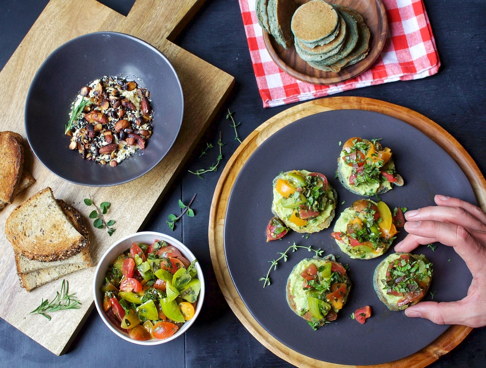 All of It - Blue Corn Cakes, Avocado frosting, and Heirloom Tomato Salsa